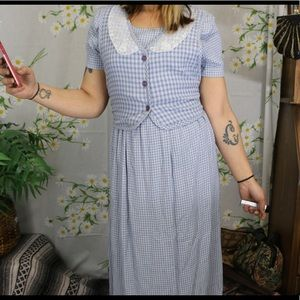 Vintage blue and white gingham dress